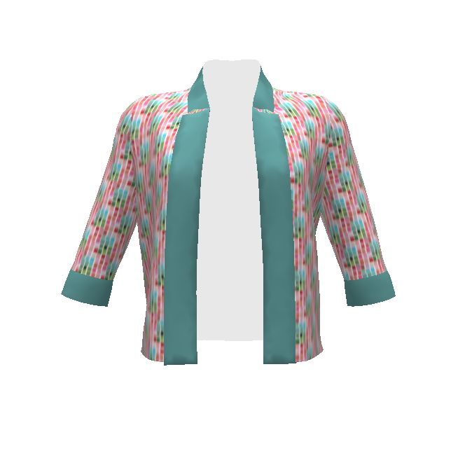 By Hand London Victoria Blazer made with Spoonflower designs on Sprout Patterns. Wear this fresh palette of pinks and greens into the boardroom, or to smarten up a pair of jeans and a t-shirt.