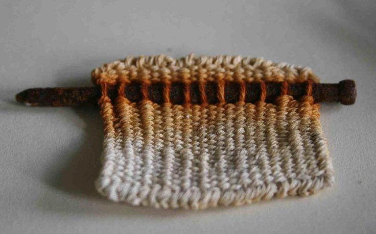 Alice Fox tapestry weave with found object and rust