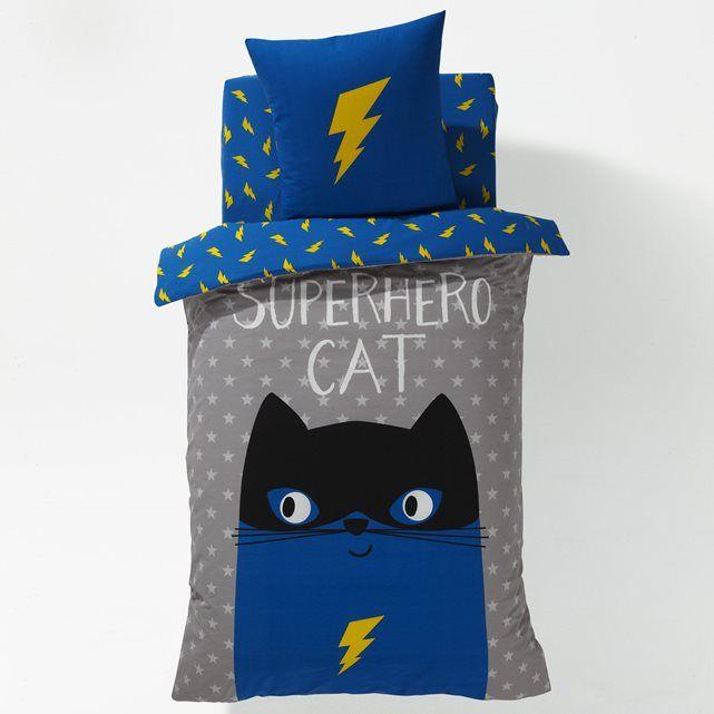 Image SUPER HERO CAT Printed Duvet Cover La Redoute Interieurs
