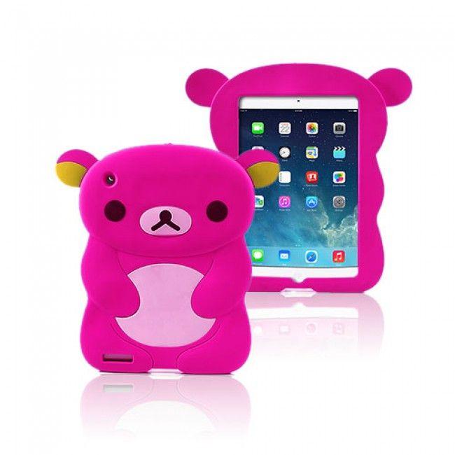 Cute Bear (Pinkki) iPad Air Silikonikuori - http://lux-case.fi/ipad-air-suojakuoret.html