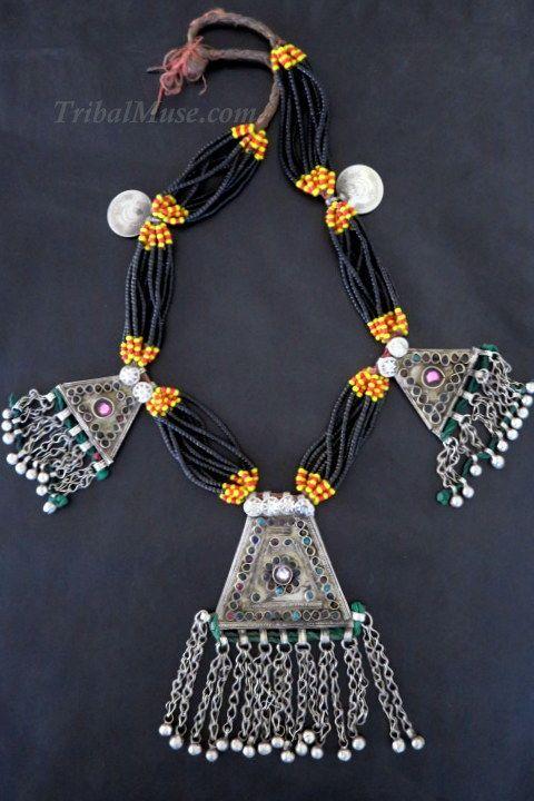 Large Kuchi Triple Vintage Pendants Tribal Jewelry Necklace