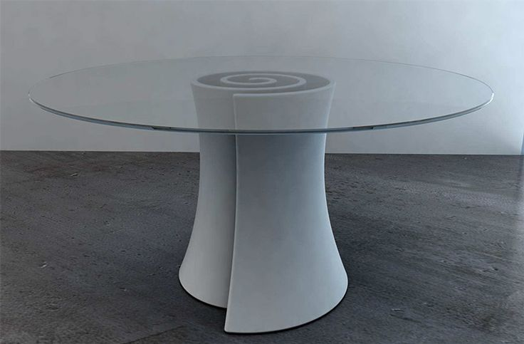Pirullo table with glass top by Andrea Radice and Folco Orlandini