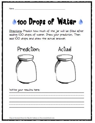 Free printable worksheets for 100th Day activities: How much will 100 drops fill a jar? Find things greater than/equal to/less than 100 cm.
