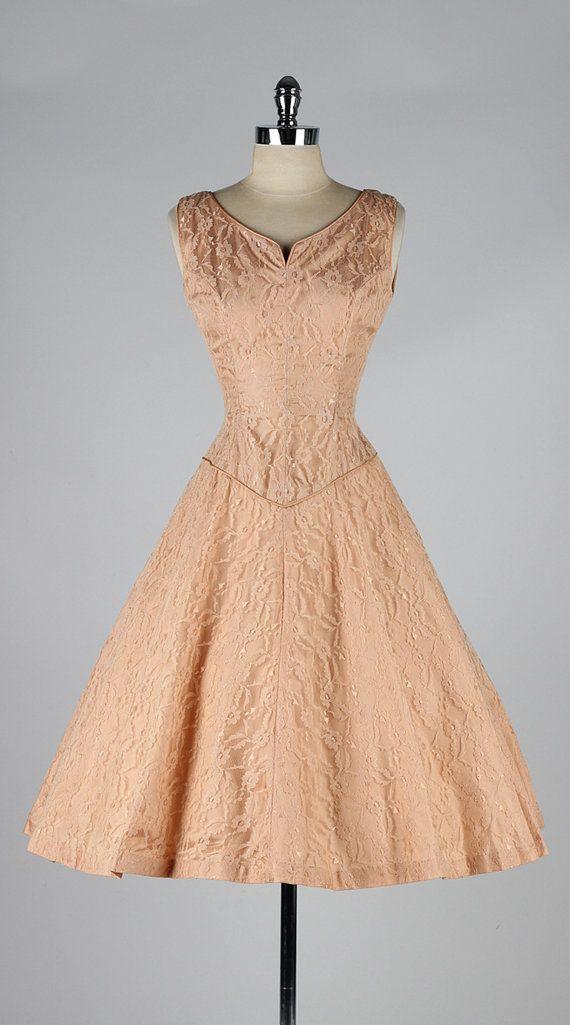 vintage 1950s dress . peach lace . bolero by millstreetvintage