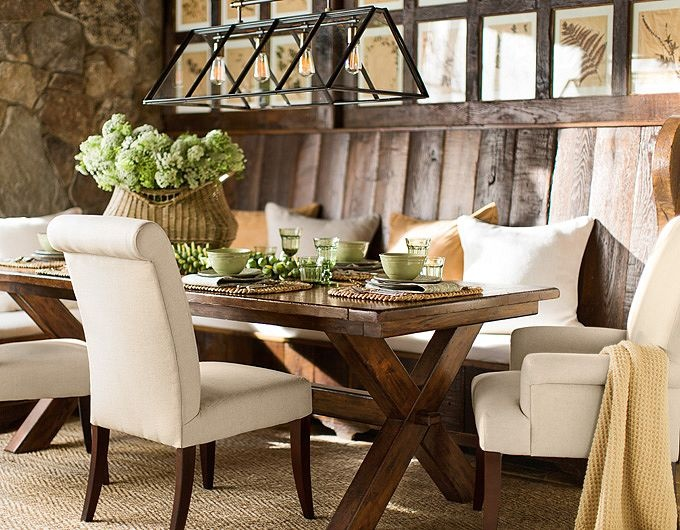 Dining table ideas pottery barn window seats for Como e dining room em portugues