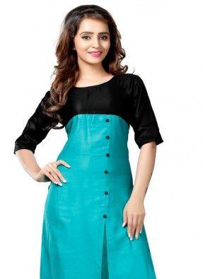 Designer Blue colour satin kurti