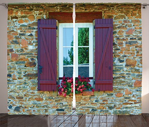 Ambesonne Shutters Decor Collection Image of Modern Brick House with Window Shutters and Flowers Mediterranean Style Decor Living Room Bedroom Curtain 2 Panels Set 108X84 Inches Brown Red *** Check this awesome product by going to the link at the image.