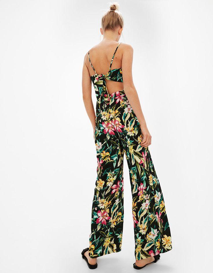 Floral print long strappy jumpsuit l www.bershka.com