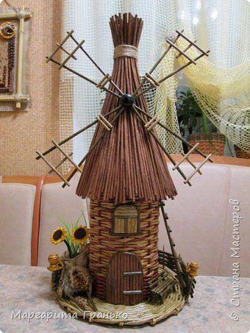 Мельница из бумажных трубочек, крашеных морилкой фото 1