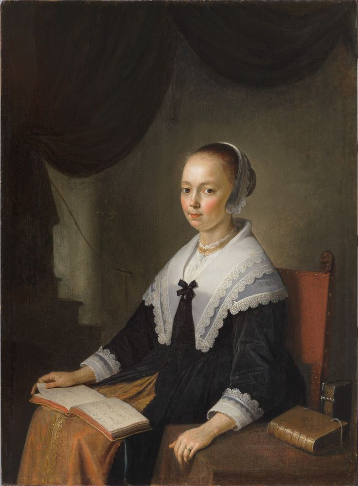 "Gerrit Dou (Leiden 1613 – 1675 Leiden), Portrait of a Lady, Seated with a Music Book on Her Lap, ca. 1640–44, oil on panel, 27.2 x 20 cm, signed in dark paint along book edge, lower right: ""GDov"" (GD in ligature), GD-116, private collection, New York."