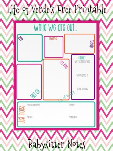 Life of Verde's: Free Printable-Baby Sitter Notes