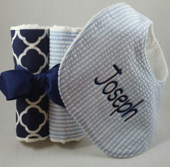 babero y eructo tela paquete conjunto azul seersucker / Marina