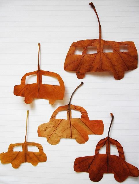 Leaf cut cars and bus by Hazel Terry, via Flickr