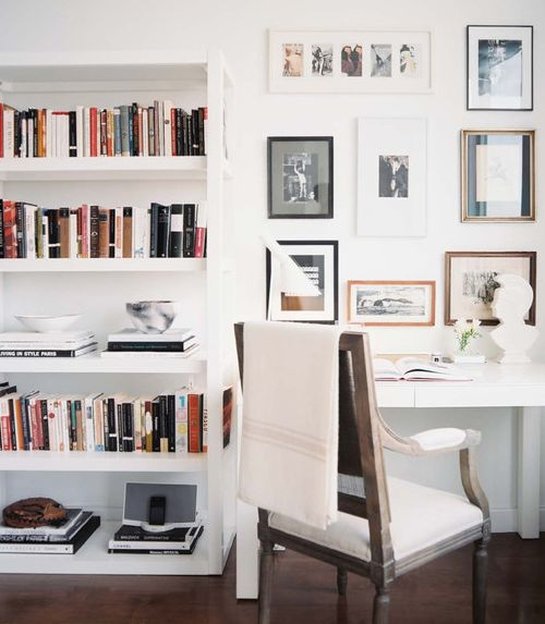 parsons desk with rustic chair. Gallery wall. Good mix of modern traditional.