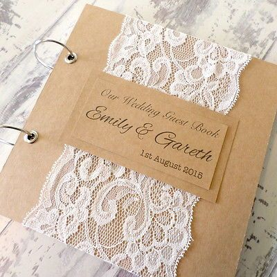 RUSTIC KRAFT PERSONALISED WEDDING GUEST BOOK WITH LACE - HANDMADE TO ORDER in Home, Furniture & DIY, Wedding Supplies, Guest Books & Pens | eBay