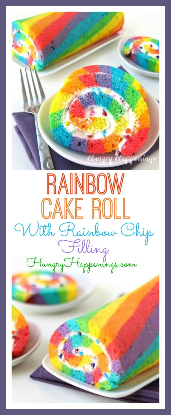 Rainbow Cake Roll filled with Rainbow Chip Frosting