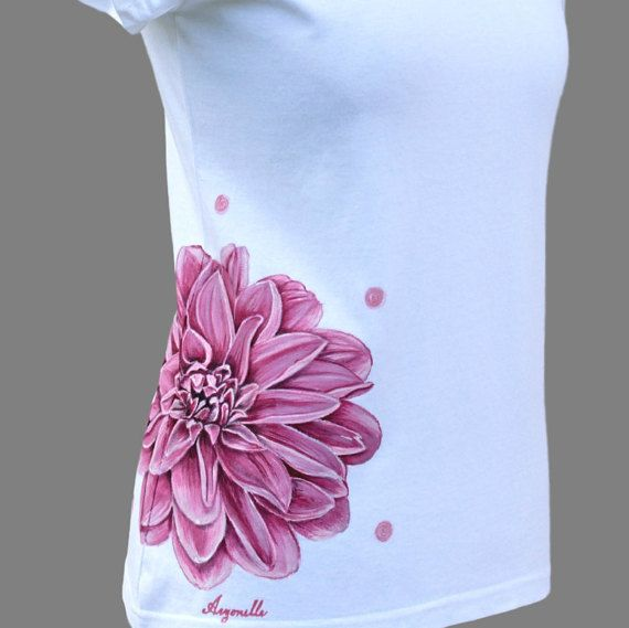 Hand painted T-shirt with pink flower  Dhaliahand by Aryonelle