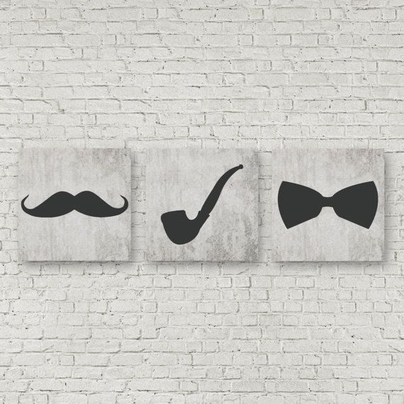 Mustache picture Bowtie Nursery print wall art Home by EllowDee