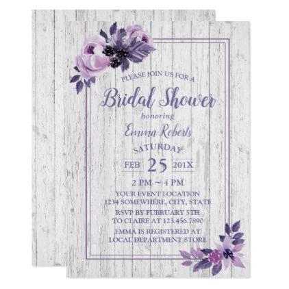 Rustic Purple Floral Spring Wedding Bridal Shower Card - elegant gifts gift ideas custom presents