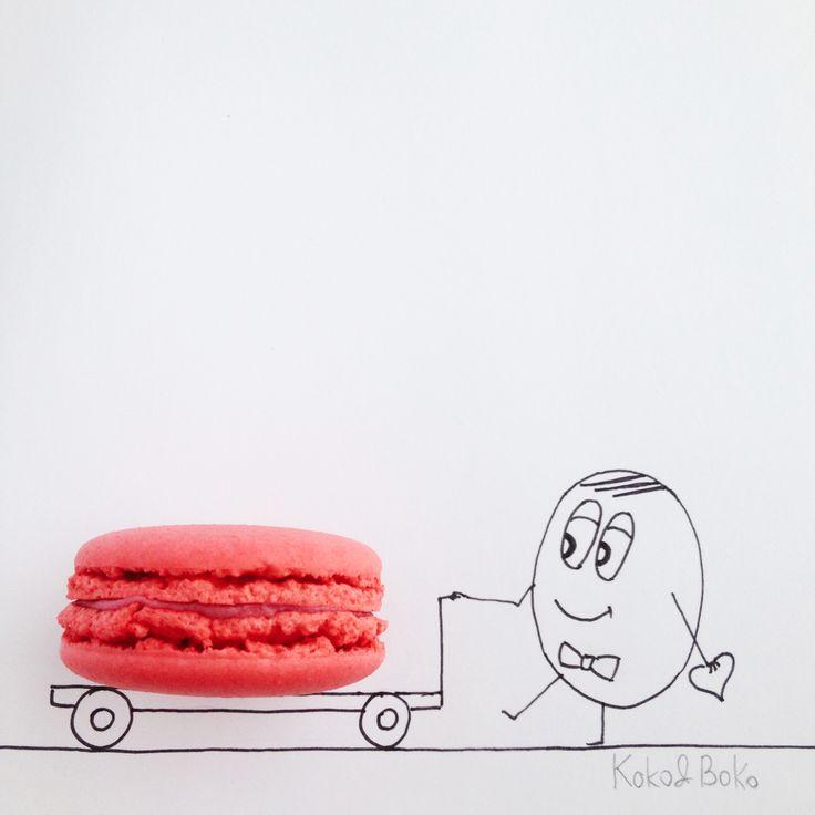 :) #kokoboko #boko #macaron #pink #love #date #february14 #happy #smile #art #illustration #drawing