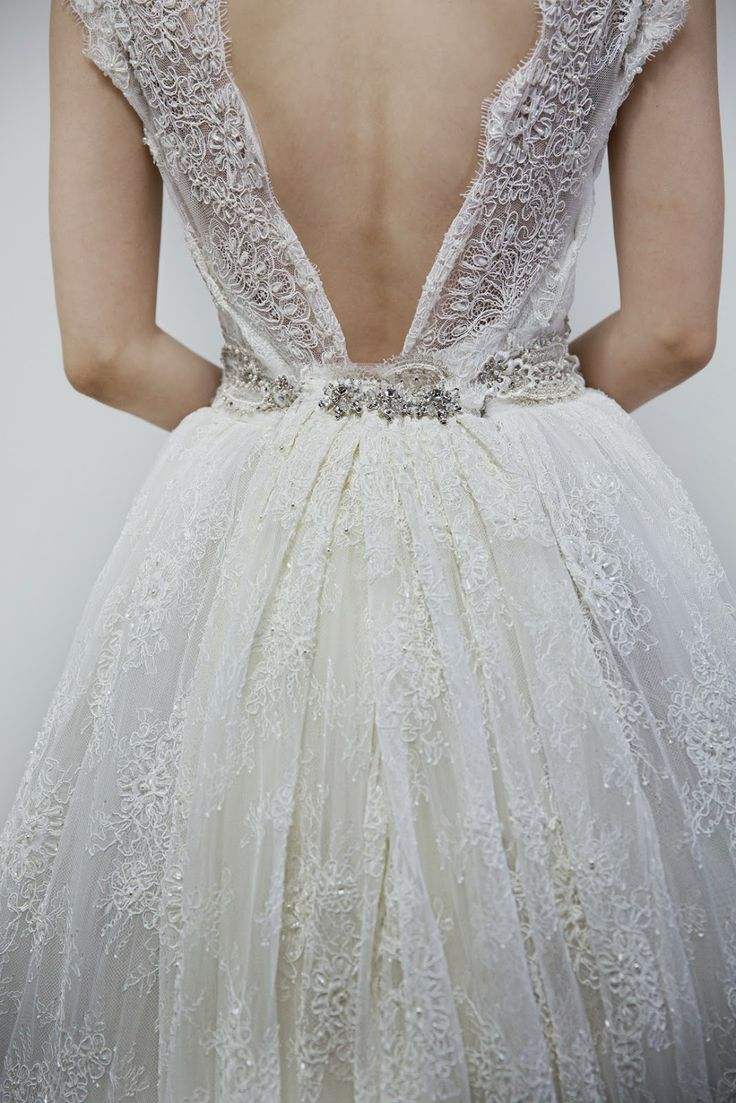 low back and tulle wedding dress