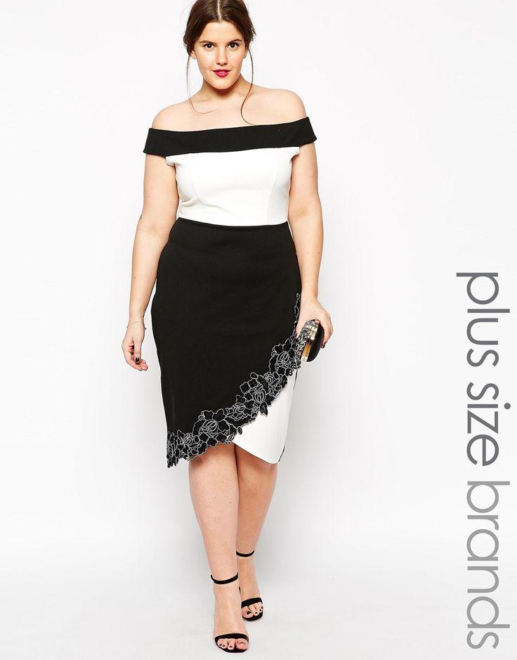 Lipstick Boutique Plus Lace Trim Bardot Pencil Dress
