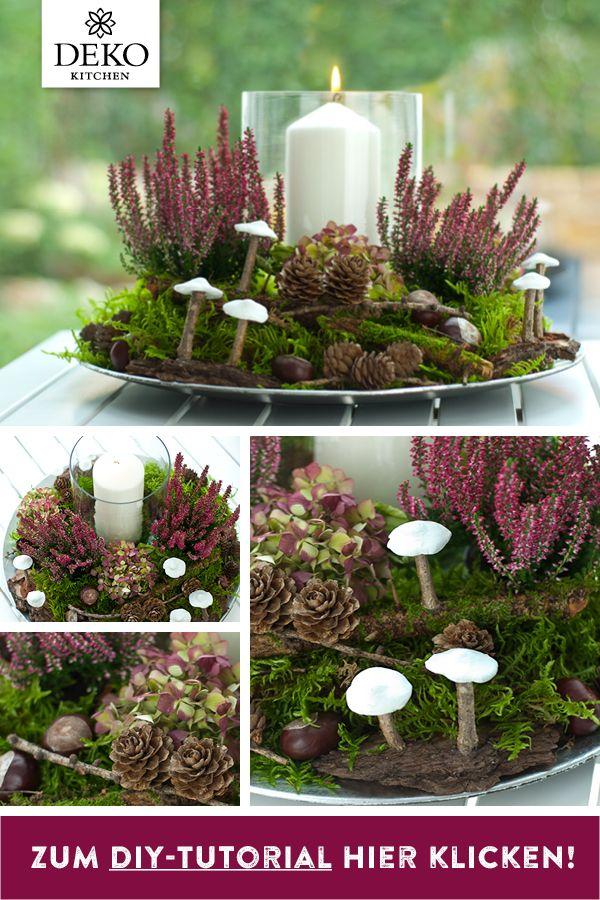 Doe-het-zelf: met heide, kastanjes, larikshoorntjes en kleine champignons uit modellering …  – DIY: Deko selber machen