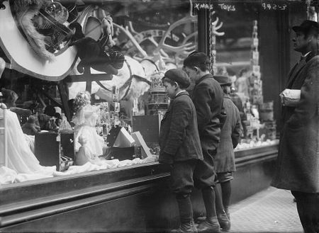early 1900s photo Children looking at Xmas toys in shop window Vintage Black d9