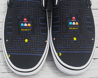 Custom Vans Brand Pac-Man Maze Canvas Shoes
