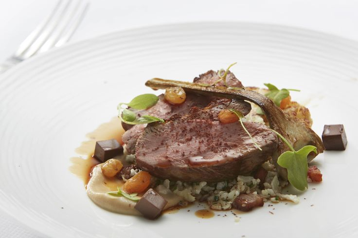 A Delicious dish from Chef, Richard Davies... slow cooked rump of lamb, cauliflower, chocolate and golden raisin.