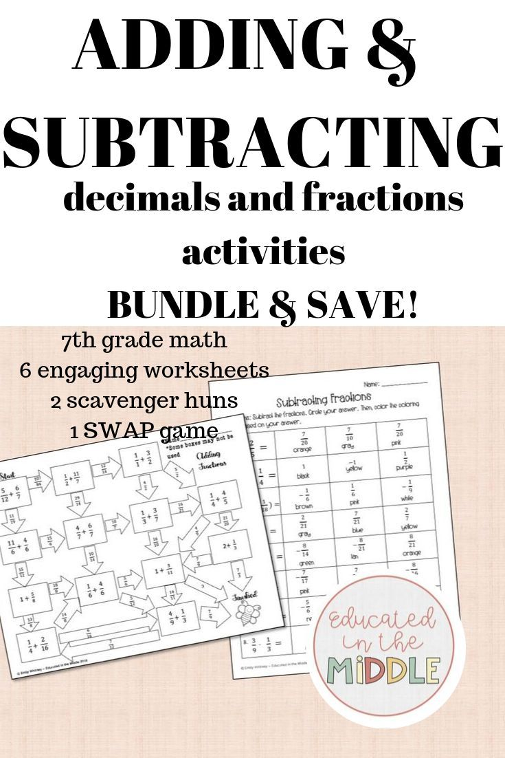 Adding And Subtracting Fractions And Decimals With Negatives Bundle Save 6 Worksheets Subtracting Rational Numbers Adding And Subtracting Rational Numbers