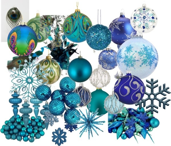 """Blue & Peacock Christmas Ornaments"" by jesschrist on Polyvore"