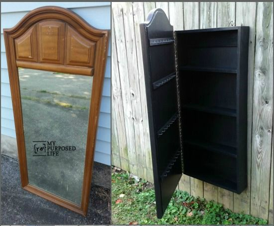 old dresser mirror turned into jewelry wall cabinet, diy, wall decor