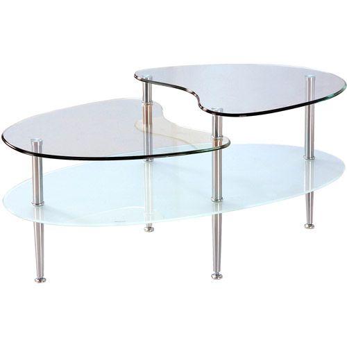 walker edison oval glass coffee table