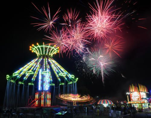 Fireworks light up the sky over the carnival at the Marin County Fair in San Rafael.