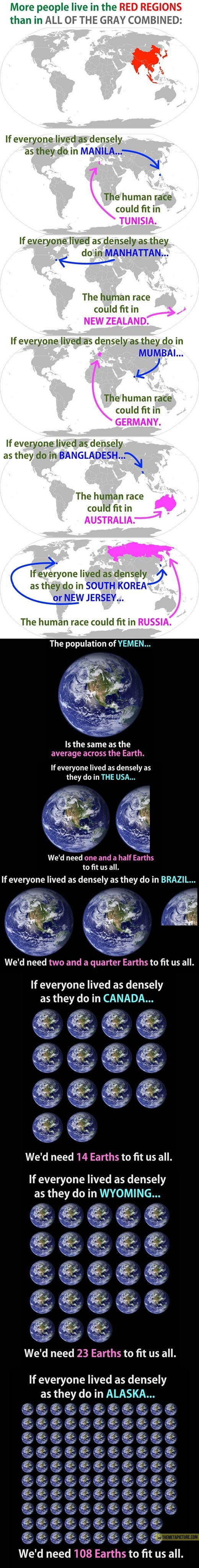 An incredible way to look at the distribution of people over the earth. It's scary and awesome at the same time. And it's bizarre that New Jersey got mentioned! We have a densely populated state, but where I live, in central/south New Jersey, it is full of open space. We have land between villages and towns. Hmm. Hard to grasp.