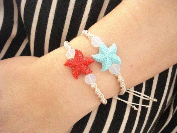 Starfish friendship bracelet Ocean inspired jewelry by Poppyg