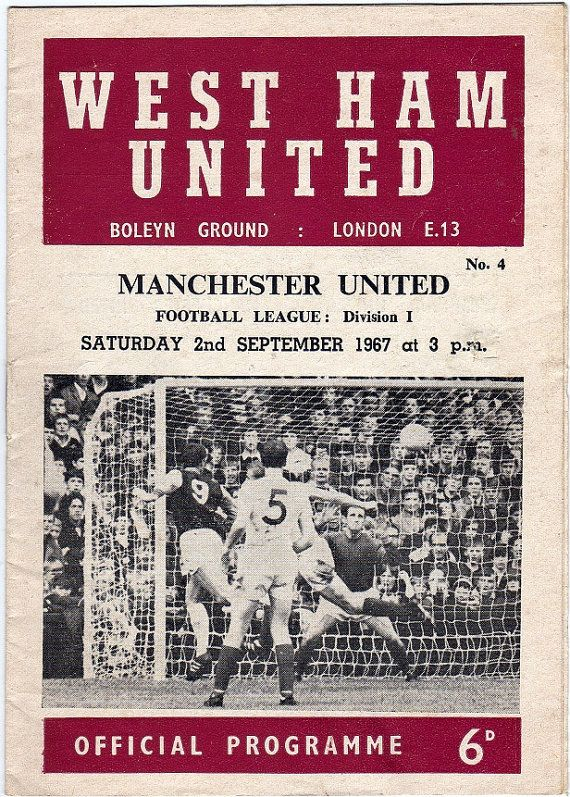 Vintage Football (soccer) Programme - West Ham United v Manchester United, 1967/68 season #football #soccer #westham