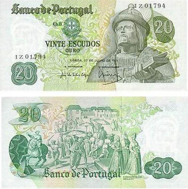 Portugal - 20 escudos – Garcia de Horta Entrada em circulação: 31-10-1977 Retirada de circulação: 30-05-1986