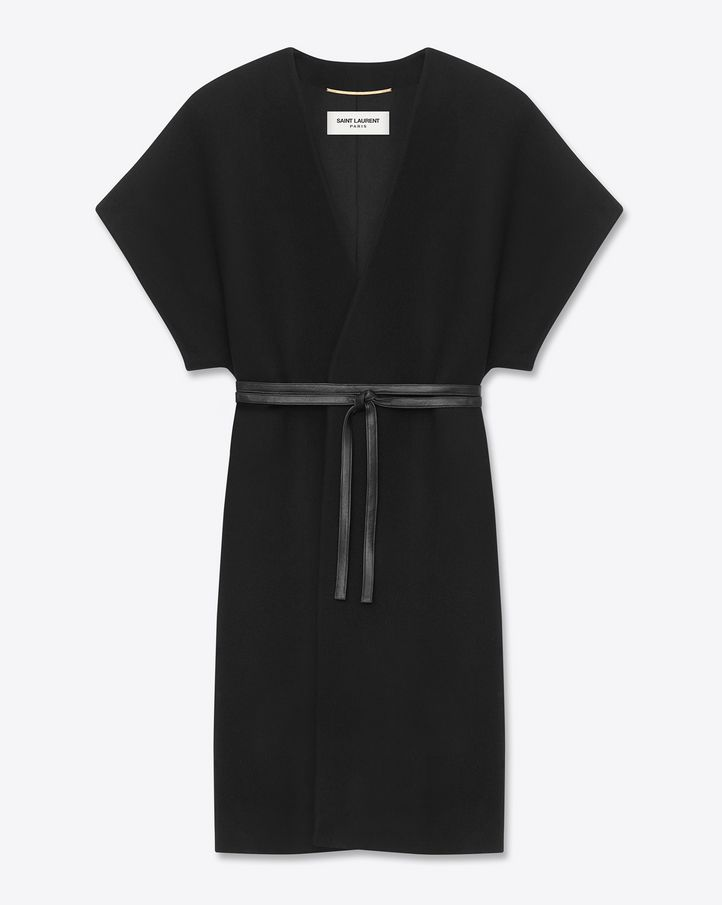 Saint Laurent kimono coat with short sleeves and wrap-around leather belted waist.