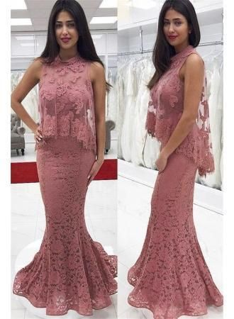 Dusty Pink High Neck Two Piece Prom Dresses Affordable Evening Dresses,AE189