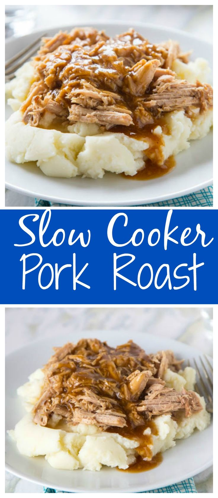 Slow Cooker Pork Roast – crock pot season is here, and it is time for pure comfort food!  Super easy pork roast for any night of the week.