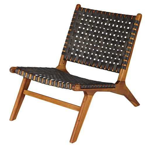 Nairobi - Garden armchair in solid acacia and charcoal grey resin wicker
