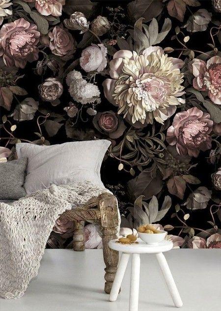 Behang met bloemen