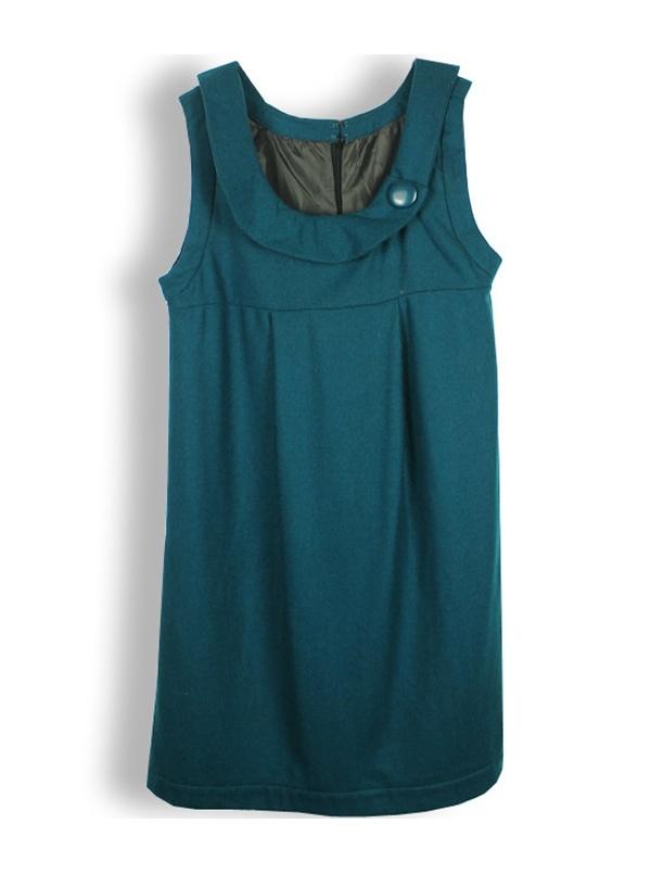blue-green sleeveless turn-down neck woolen dress -