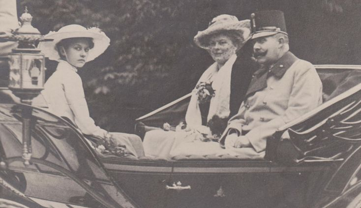 A picture of Franz Ferdinand with his wife Sophie, and daughter Sophie, riding in a carriage in Vienna in June 1914.