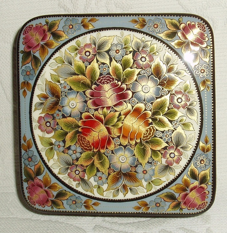 Russian Lacquer Box Mstera  Bouquet of Roses  Flowers Hand Painted | eBay