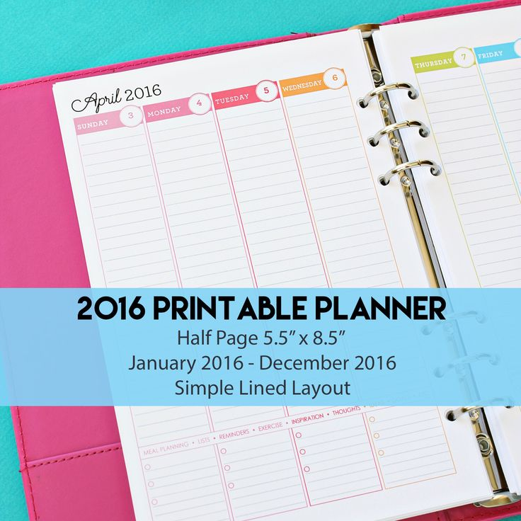 2016 Weekly Planner Half Page with Simple Lined Layout - Weekly Planner | Weekly Agenda | Junior Planner Pages | Mom Planner by 505design on Etsy https://www.etsy.com/listing/249259580/2016-weekly-planner-half-page-with