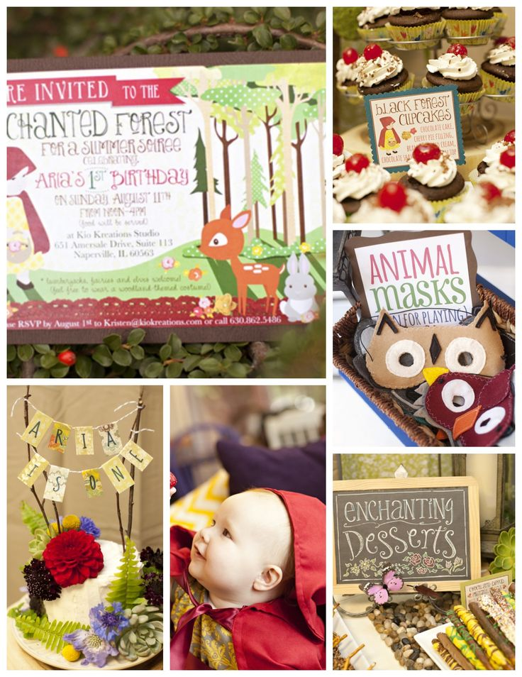 Here's a 1st birthday party idea for a girl birthday. A woodland themed party with a touch of Little Red Riding Hood! See the whole party on Catch My Party here: http://catchmyparty.com/parties/arias-enchanted-forest-1st-birthday #1stbirthday #girlbirthday #woodland