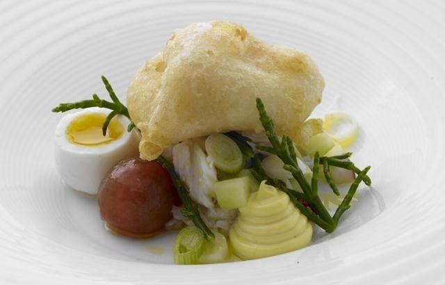Muncaster crab, hen's egg, tossed salad and English mustard mayonnaise - Nigel Haworth